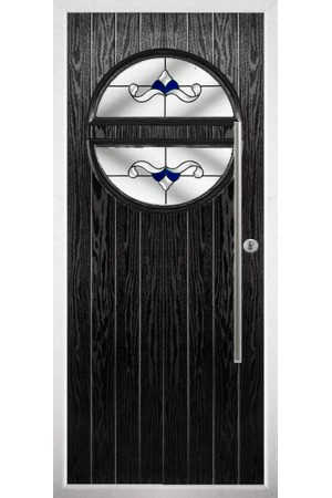 The Xenia Black Composite Door with Blue Crystal Bohemia