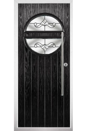 The Xenia Black Composite Door with Clear Crystal Bohemia