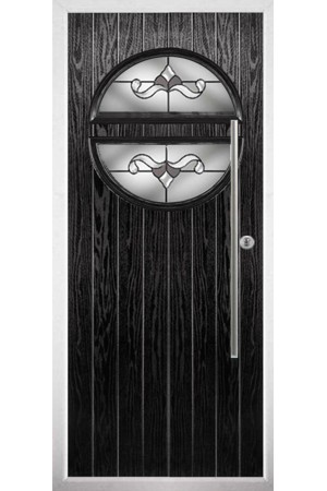 The Xenia Black Composite Door with Crystal Bohemia Frost