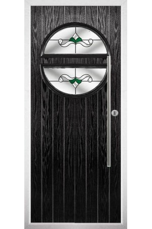 The Xenia Black Composite Door with Green Crystal Bohemia