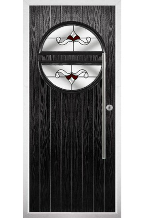 The Xenia Black Composite Door with Red Crystal Bohemia