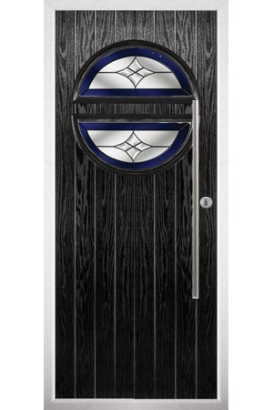 The Xenia Black Composite Door with Blue Crystal Harmony