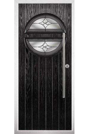 The Xenia Black Composite Door with Crystal Harmony Frost