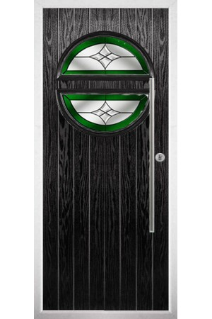 The Xenia Black Composite Door with Green Crystal Harmony