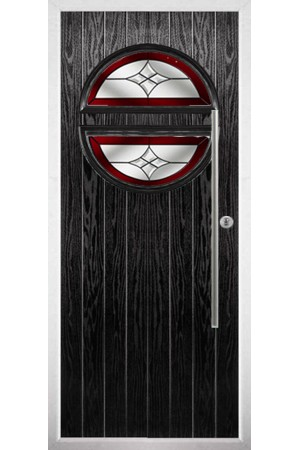 The Xenia Black Composite Door with Red Crystal Harmony