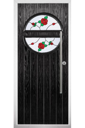 The Xenia Black Composite Door with English Rose