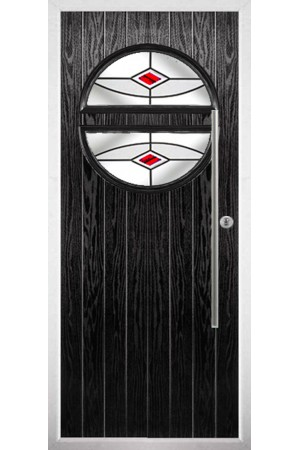 The Xenia Black Composite Door with Red Fusion Ellipse