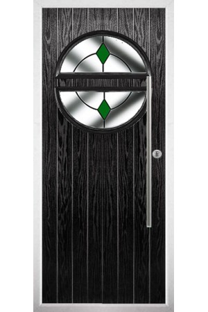 The Xenia Black Composite Door with Green Diamonds