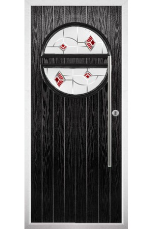 The Xenia Black Composite Door with Red Murano