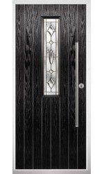 The Yorkshire Black Composite Door with Brass Art Clarity