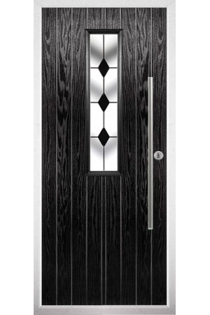 The Yorkshire Black Composite Door with Black Diamonds