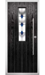 The Yorkshire Black Composite Door with Blue Diamonds