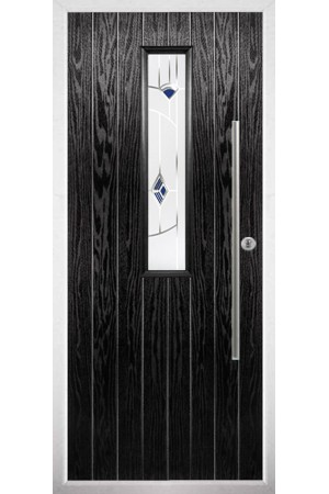 The Yorkshire Black Composite Door with Blue Murano