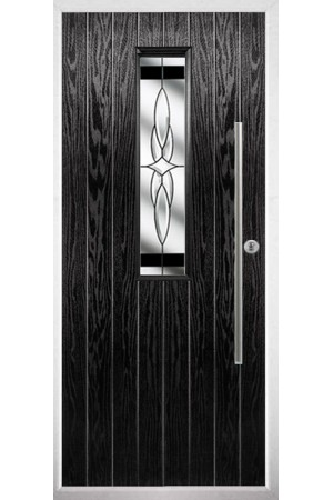 The Yorkshire Black Composite Door with Black Crystal Harmony
