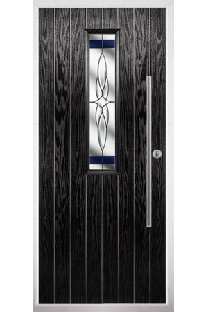 The Yorkshire Black Composite Door with Blue Crystal Harmony