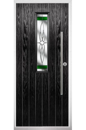 The Yorkshire Black Composite Door with Green Crystal Harmony
