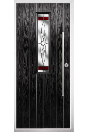 The Yorkshire Black Composite Door with Red Crystal Harmony