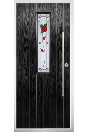 The Yorkshire Black Composite Door with English Rose
