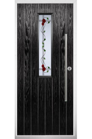 The Yorkshire Black Composite Door with Mackintosh Rose
