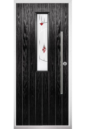 The Yorkshire Black Composite Door with Red Murano