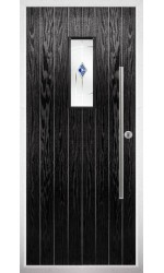 The Zetland Black Composite Door with Blue Murano