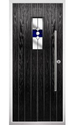 The Zetland Black Composite Door with Blue Crystal Bohemia