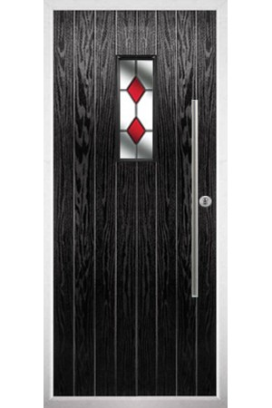 The Zetland Black Composite Door with Red Diamonds
