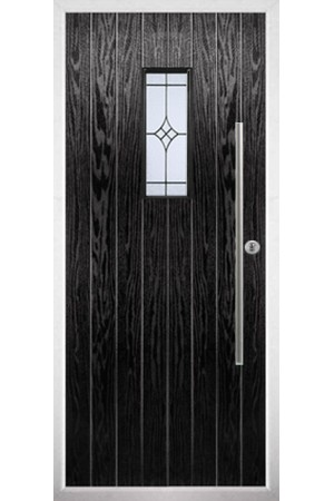 The Zetland Black Composite Door with Zinc Art Elegance