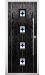 The West Sussex Black Composite Door with Blue Diamonds