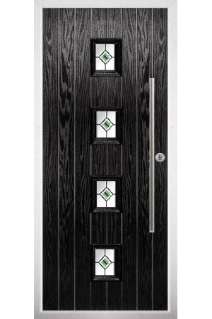 The West Sussex Black Composite Door with Green Fusion Ellipse