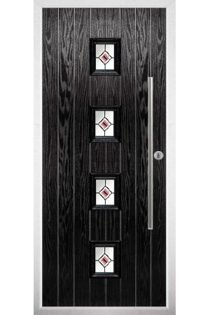 The West Sussex Black Composite Door with Red Fusion Ellipse