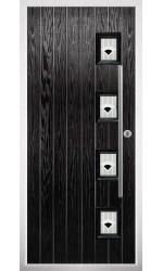 The Buckinghamshire Black Composite Door with Black Murano