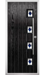 The Buckinghamshire Black Composite Door with Blue Diamonds