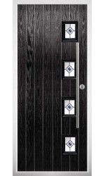 The Buckinghamshire Black Composite Door with Blue Fusion Ellipse