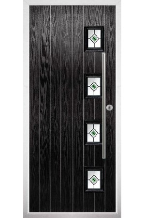 The Buckinghamshire Black Composite Door with Green Fusion Ellipse