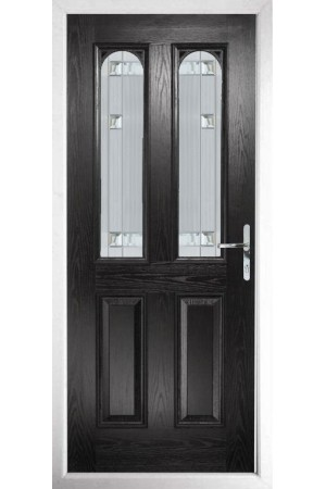 The Aylesbury Black Composite Door with Milan Glazing