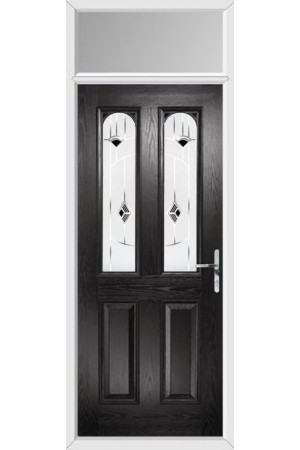 The Aylesbury Black Composite Door with Black Murano and Toplight