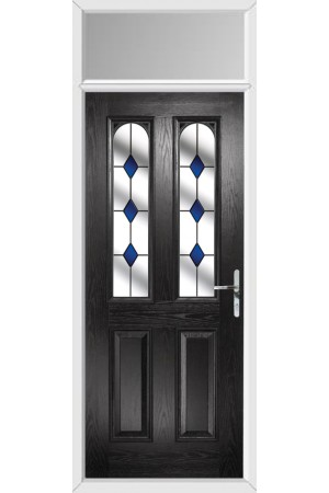 The Aylesbury Black Composite Door with Blue Diamonds and Toplight