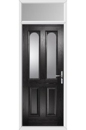 The Aylesbury Black Composite Door with Clear Glazing and Toplight