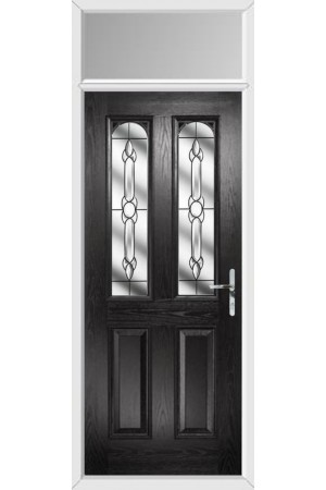 The Aylesbury Black Composite Door with Crystal Bohemia and Toplight