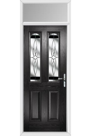 The Aylesbury Black Composite Door with Black Crystal Harmony and Toplight