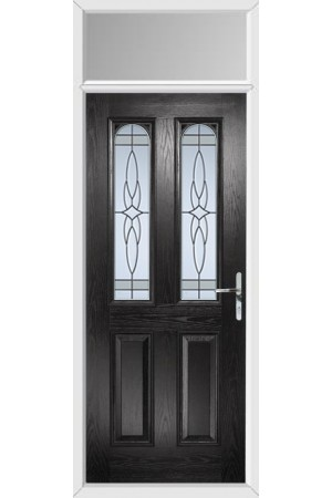 The Aylesbury Black Composite Door with Crystal Harmony Frost and Toplight