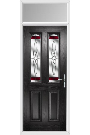 The Aylesbury Black Composite Door with Red Crystal Harmony and Toplight