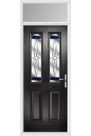 The Aylesbury Black Composite Door with Blue Crystal Harmony and Toplight