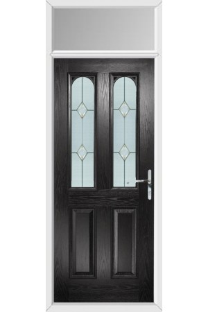 The Aylesbury Black Composite Door with Classic Glazing and Toplight
