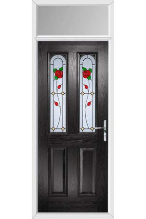 The Aylesbury Black Composite Door with English Rose and Toplight