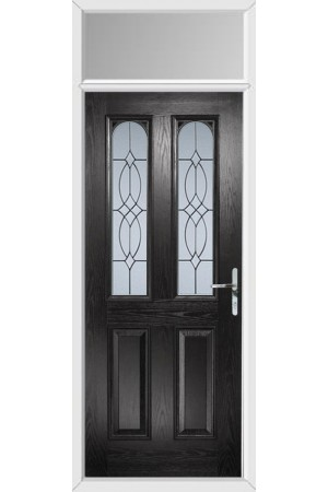 The Aylesbury Black Composite Door with Flair Glazing and Toplight