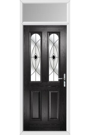 The Aylesbury Black Composite Door with Black Fusion Ellipse and Toplight