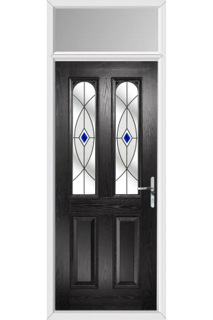 The Aylesbury Black Composite Door with Blue Fusion Ellipse and Toplight