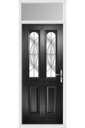 The Aylesbury Black Composite Door with Green Fusion Ellipse and Toplight